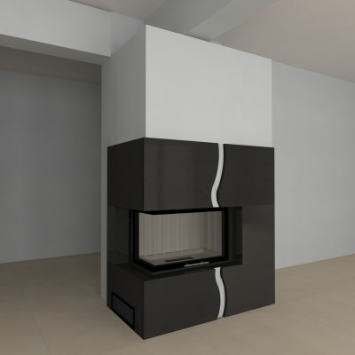 eckkamin modern a 07 4 mit spartherm mit montage. Black Bedroom Furniture Sets. Home Design Ideas