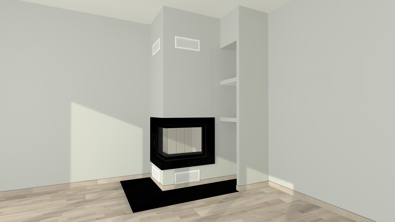 eckkamin modern a 09 4 mit spartherm mit montage www. Black Bedroom Furniture Sets. Home Design Ideas