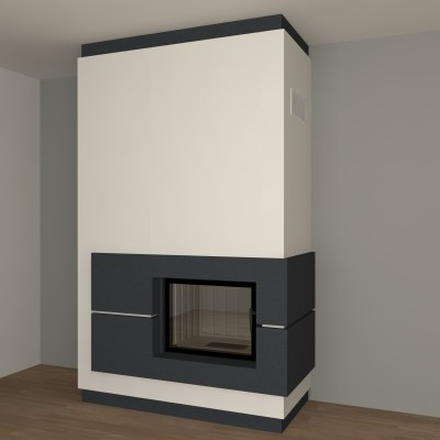dreiseitiger kamin zp9 modern mit spartherm mit montage. Black Bedroom Furniture Sets. Home Design Ideas