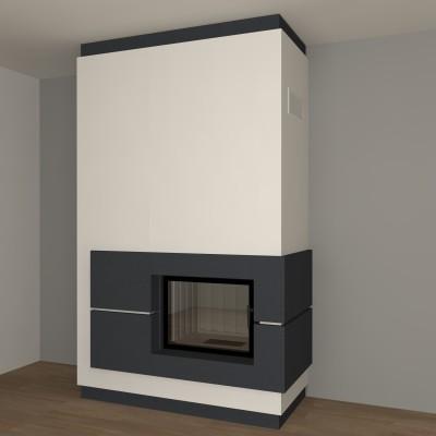 dreiseitiger moderner kamin zp21 mit montage. Black Bedroom Furniture Sets. Home Design Ideas
