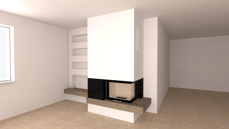 eckkamin modern c 16 3 mit spartherm mit montage. Black Bedroom Furniture Sets. Home Design Ideas