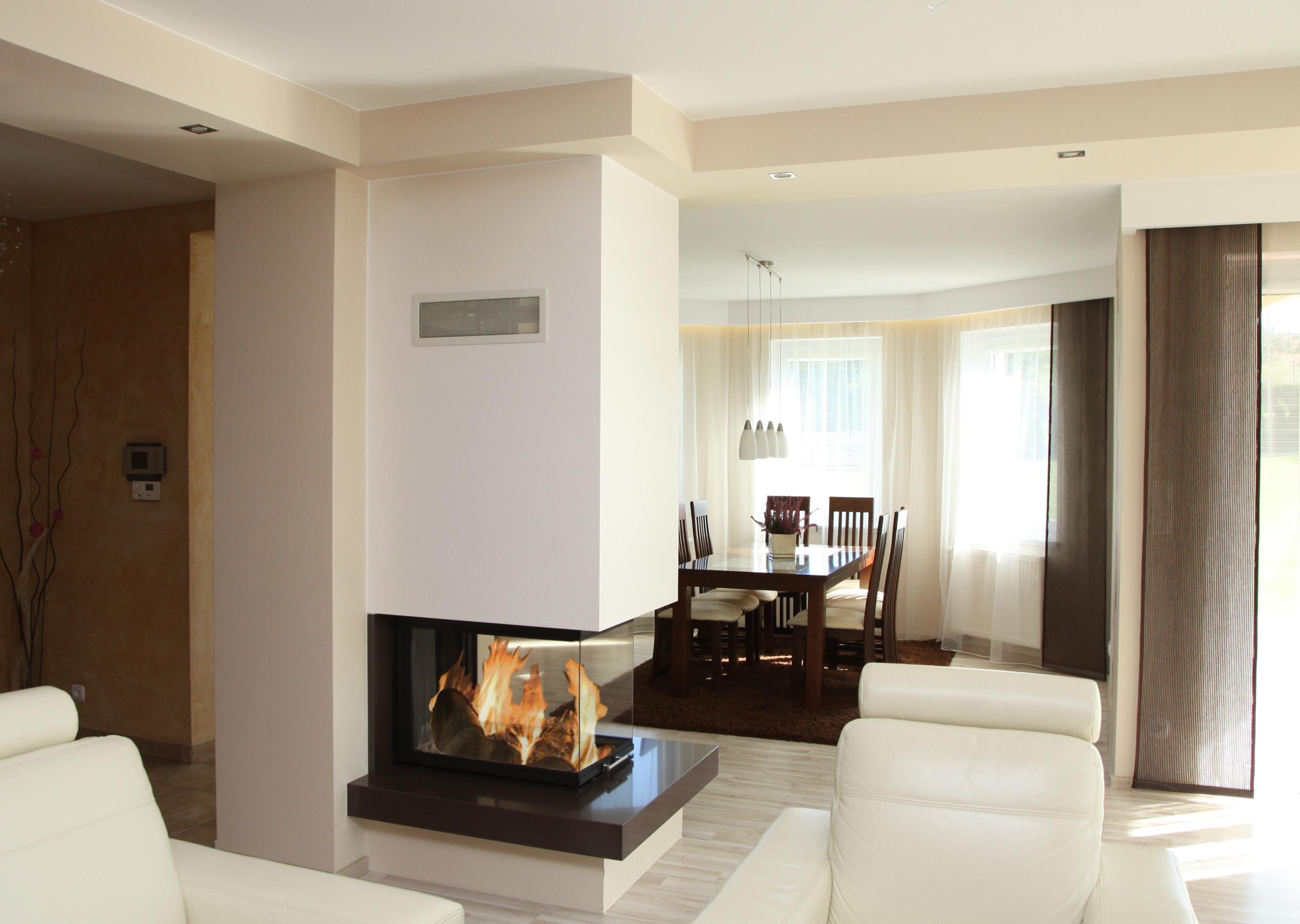 dreiseitiger moderner kamin c 08 mit montage. Black Bedroom Furniture Sets. Home Design Ideas