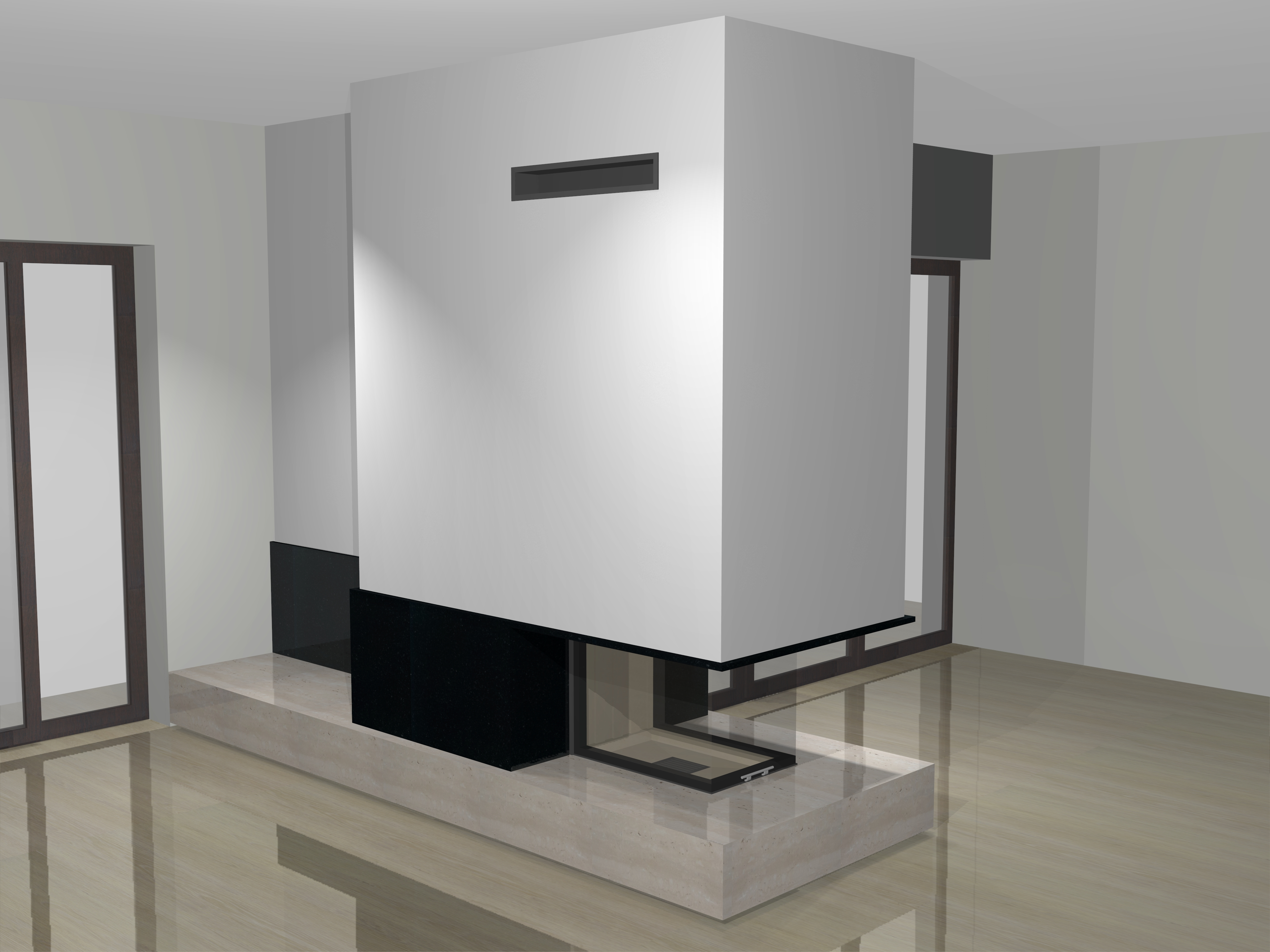 dreiseitiger kamin a 26 1 mit spartherm mit montage www. Black Bedroom Furniture Sets. Home Design Ideas