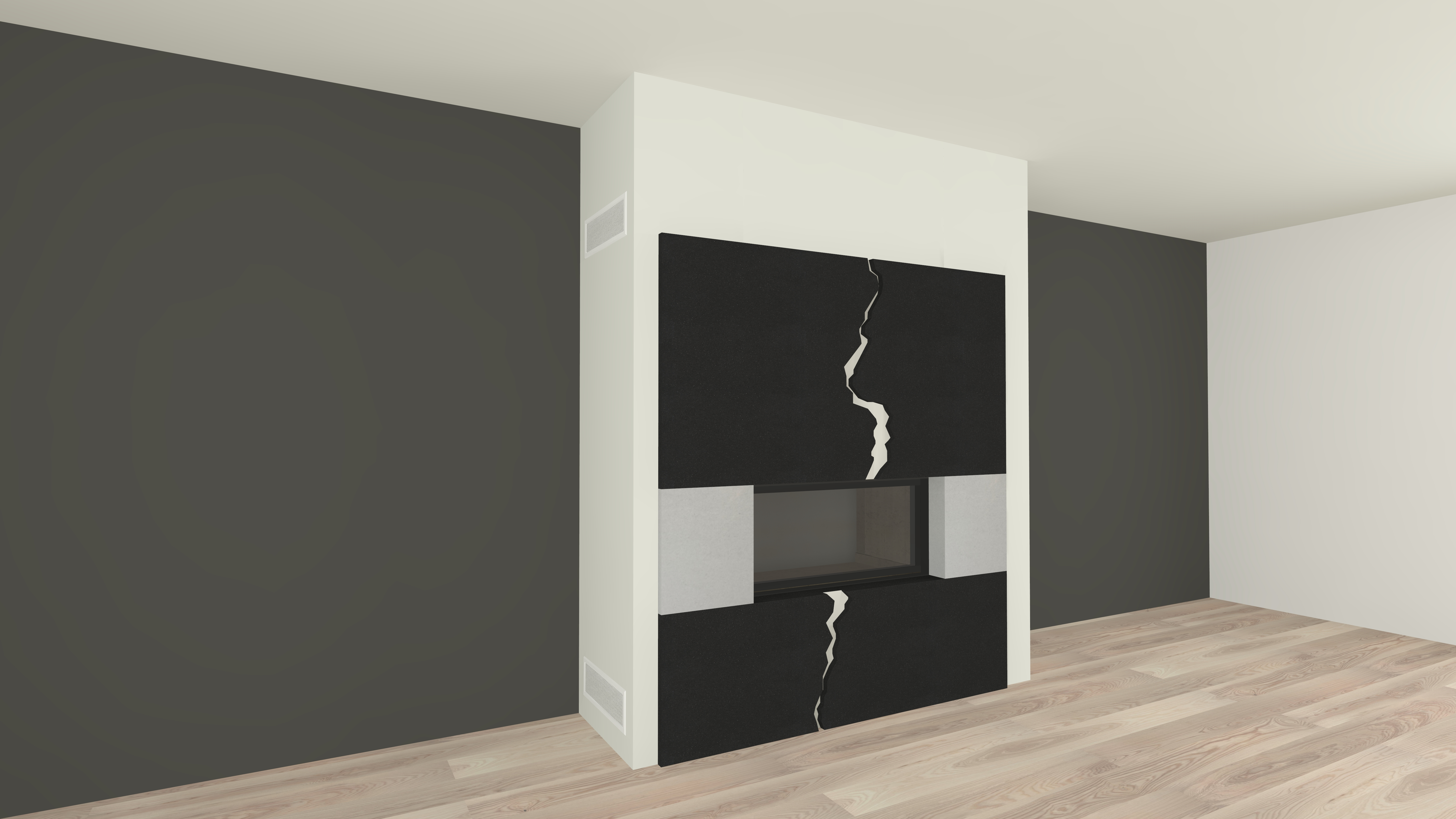 moderner kamin a 02 3 mit spartherm mit montage. Black Bedroom Furniture Sets. Home Design Ideas