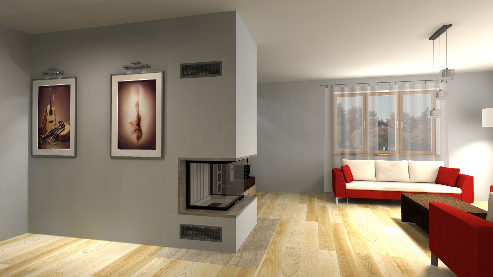 dreiseitiger moderner kamin zp20 mit montage. Black Bedroom Furniture Sets. Home Design Ideas